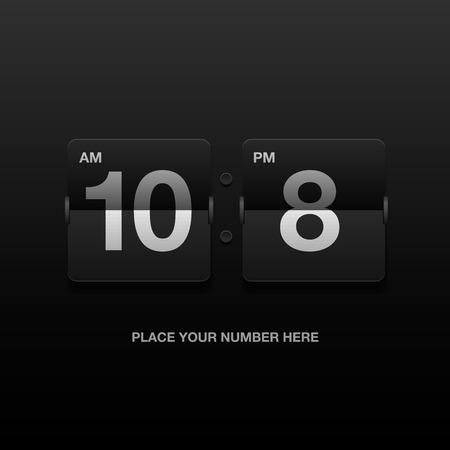 scorebord: Digitale klok, analoge zwart scorebord, vector illustratie. Stock Illustratie