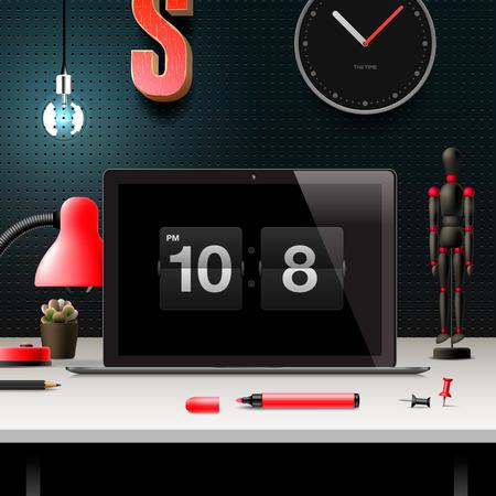 Modern design concept office workspace, vector illustration. Vector