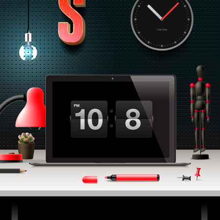 workspace: Modern design concept office workspace, vector illustration.