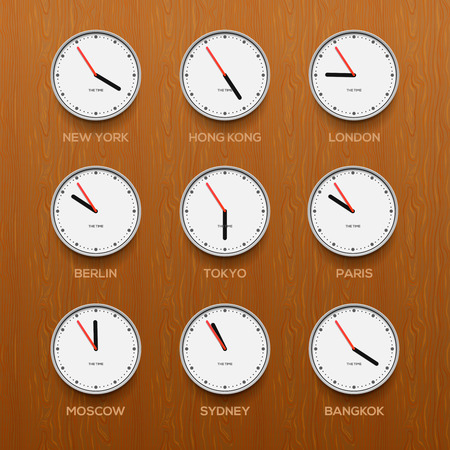 timezone: Timezone clocks showing different time, wooden wall background, vector illustration.