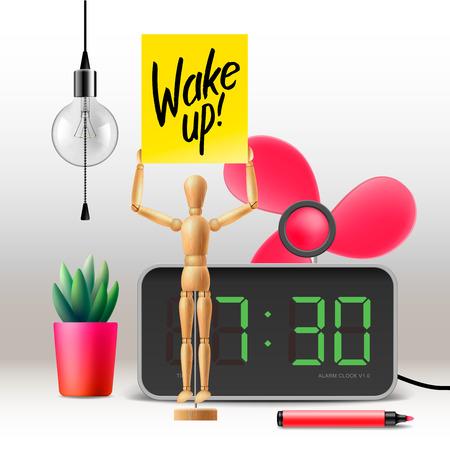 wake up happy: Wake up. Workspace mock up with digital alarm clock, vector illustration. Illustration