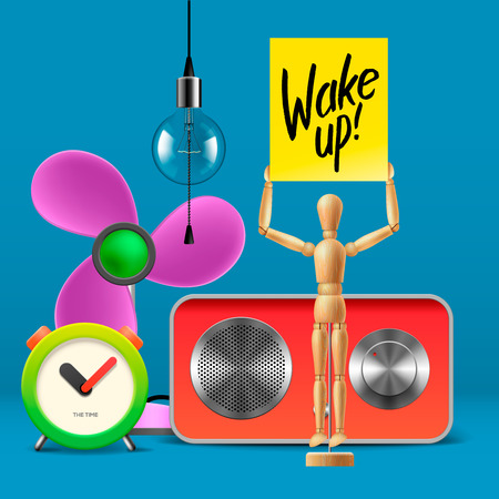 wake up happy: Wake up. Workspace mock up with analog alarm clock, sound system, fan, wooden mannequin, vector illustration.