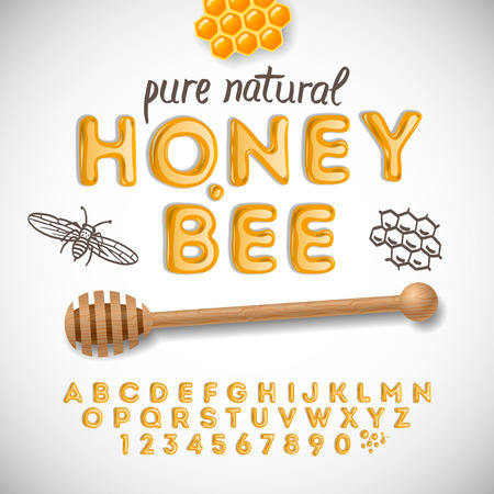 Alfabeto latino y los números hechos de miel, ilustración vectorial.