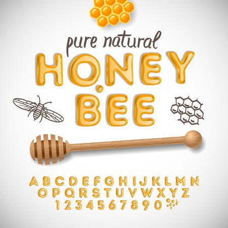 Latijnse alfabet en nummers gemaakt van honing, vector illustratie.