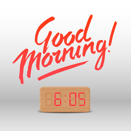 wake up happy: Good Morning. Workspace mock up with wooden digital alarm clock, vector illustration.