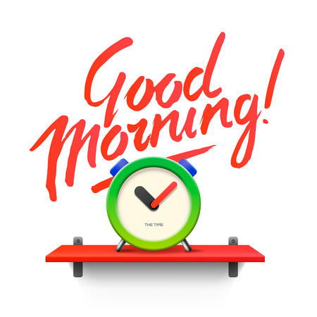 morning: Good Morning. Workspace mock up with analog alarm clock, vector illustration.