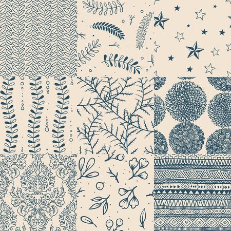 Seamless floral vintage pattern set, vector illustration.
