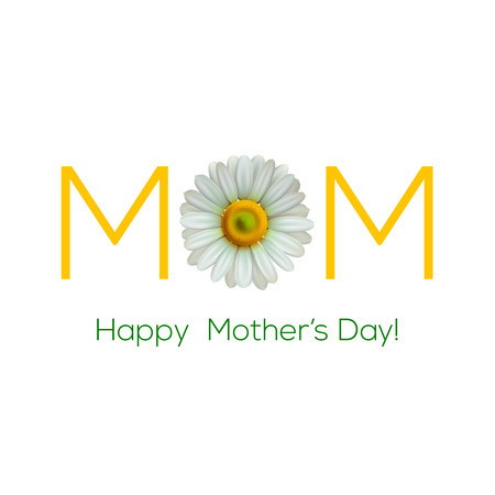 camomile flower: Greeting card for Mother Day, vector illustration.