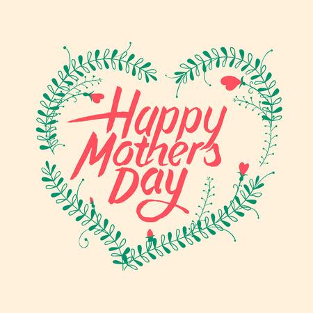 madre: Tarjeta de felicitación para el Día de la Madre, ilustración vectorial.