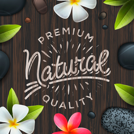 categorized: Natural premium quality label, spa concept, vector illustration.