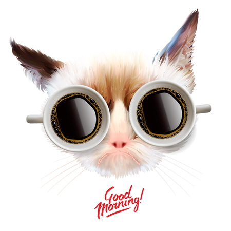 Funny cat with cups of coffee glasses, illustration. Stock Illustratie