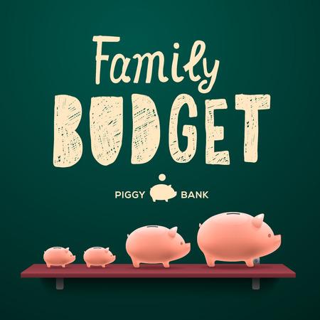 Family budget. Piggy money-boxes on the shelf, vector illustration.
