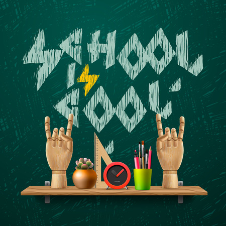 School is cool, template with schools workspace supplies