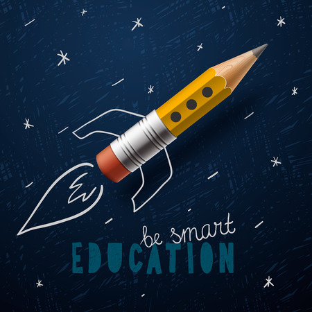 in the back: Smart education. Rocket ship launch with pencil