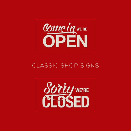 store sign: Open and Closed Sign - information retail store Illustration