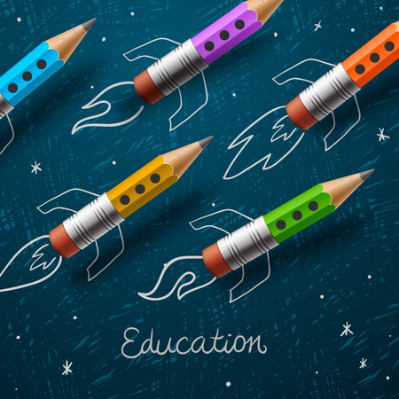blackboard background: Education. Rocket ship launch with pencils