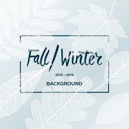 fall in love: Fall Winter sale poster with leaves background and simple text, vector illustration.