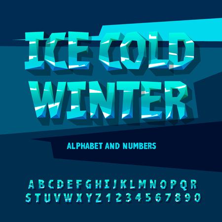 차가운 얼음 알파벳과 숫자, 겨울 개념, 벡터 일러스트 레이 션입니다. 일러스트