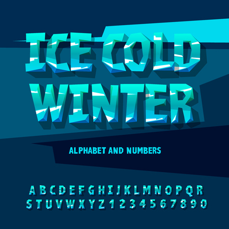 ice: Ice cold alphabet and numbers, winter concept, vector illustration.