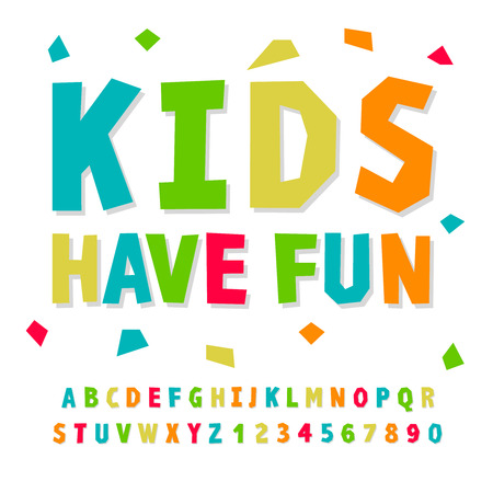 Creative kids funny alphabet and numbers, vector illustration.