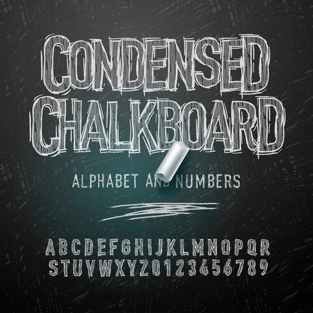 font: Cartas Condensados ??alfabeto tiza y números, ilustración vectorial.