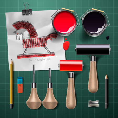 caulk: Set of  tools and supplies for engraving, vector illustration.