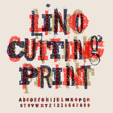 old style: Linocut letters and numbers, alphabet for creating vintage design, vector illustration. Illustration