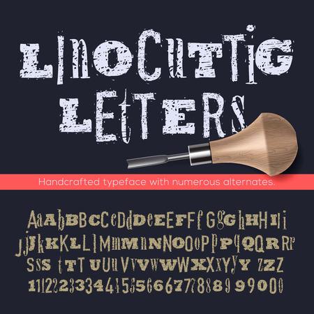 linocut: Linocut letters and numbers, alphabet for creating vintage design, vector illustration. Illustration
