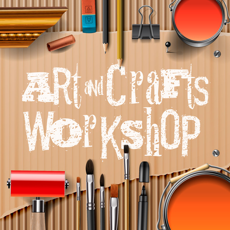 pencil: Art and crafts template with artist tools, vector illustration.