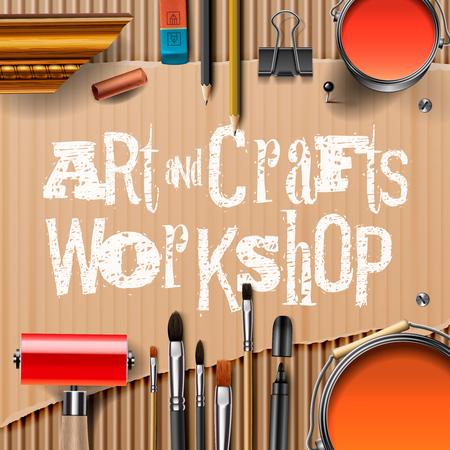 pencil paper: Arte y artesan�a plantilla con herramientas de artistas, ilustraci�n vectorial.