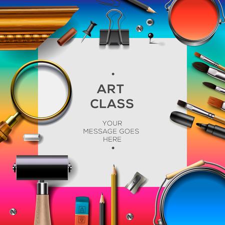 creativity concept: Art class template, creativity concept for artist schools, vector illustration. Illustration