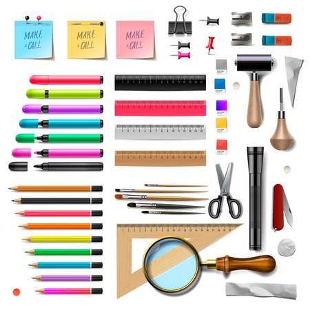 Set of office supplies on white background, vector illustration.