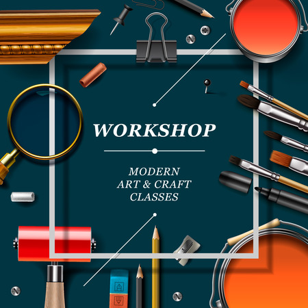 Art workshop template with artist tools, vector illustration.