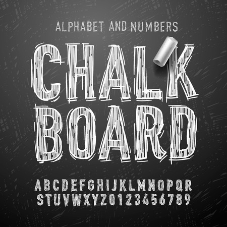 tablero: Chalk letras y números alfabeto, ilustración vectorial Eps10.