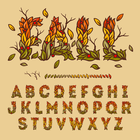 alphabet a: Hand drawn fall alphabet made with leaves, vector illustration. Illustration