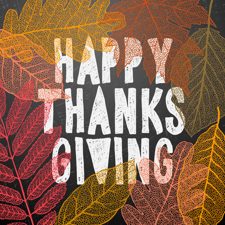 thanksgiving leaves: Happy Thanksgiving Day, holiday background, vector illustration. Illustration