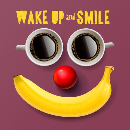 frutas divertidas: Despierta y sonreír, fondo motivación, ilustración vectorial. Vectores