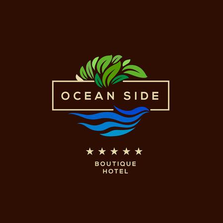 albergo: Logo per hotel boutique, vista oceano ricorso, logo design, illustrazione vettoriale.