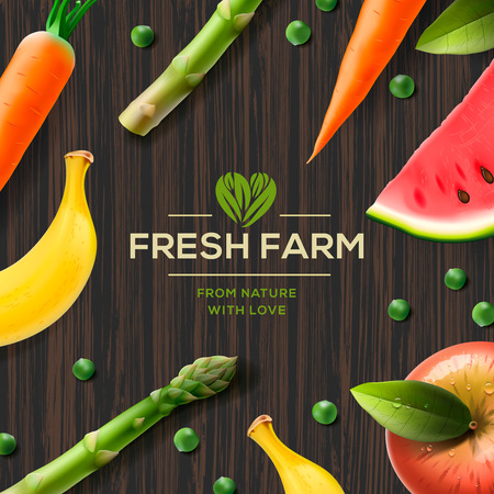 plant stand: Farm label, bio healthy food on wooden background, vector illustration.