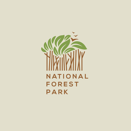 exploration: Forest national park icon. Outdoor activity, camping and nature exploration symbol, vector illustration. Illustration