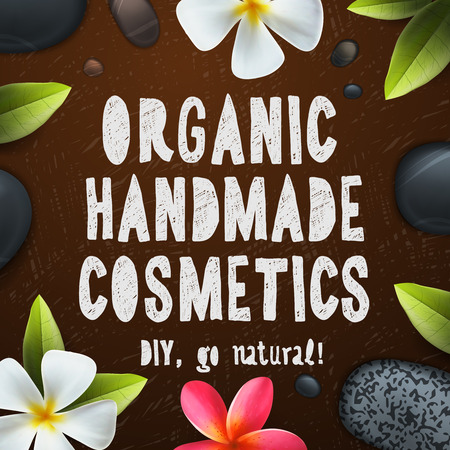 handmade soap: Handmade organic cosmetics, herbal and natural ingredients, vector illustration.