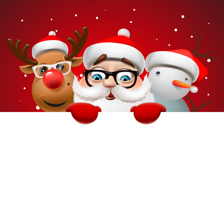 Grußkarte, Weihnachtskarte mit Santa Claus, Hirsch und Schneemann, Vektor-Illustration.
