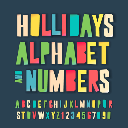 Holidays alphabet and numbers, colorful art and craft design, cut out by scissors from paper. Vector illustration. Иллюстрация