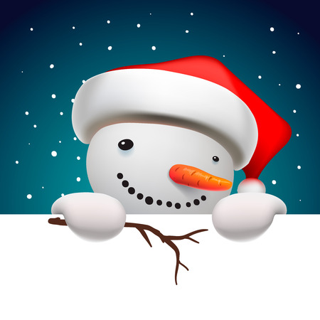christmas cute: Cute funny snowman holding white page, greeting Christmas card, vector illustration.