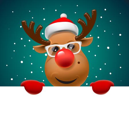 bonhomme de neige: Carte de voeux, carte de Noël avec des rennes tenant page blanche, illustration vectorielle. Illustration
