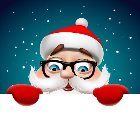 인사말 카드, 산타 클로스, 벡터 일러스트 레이 션, 흰색 페이지를 들고 크리스마스 카드입니다.