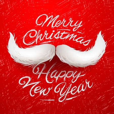 화이트 산타의 수염, 메리 크리스마스와 행복 한 새 해 카드 디자인, 벡터 일러스트 레이 션입니다.