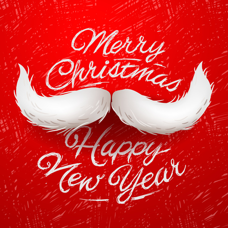 White Santas moustache, Merry Christmas and Happy New Year card design, vector illustration. Çizim