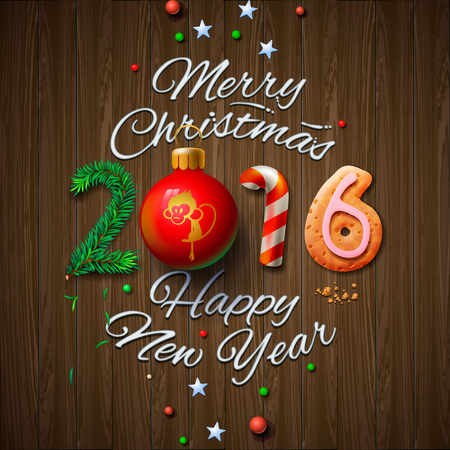 Merry Christmas and Happy New Year 2016 greeting card, vector illustration. Vectores