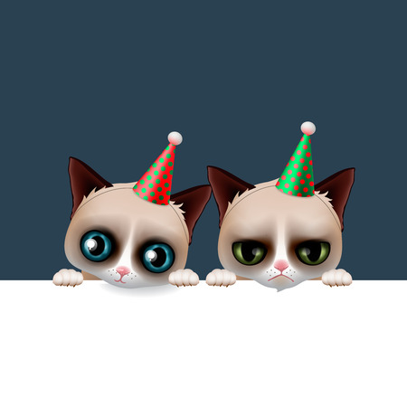 Cute grumpy cat apologize sorry card vector illustration royalty cute happy birthday card with fun grumpy and siamese cats hipster design vector illustration bookmarktalkfo Image collections
